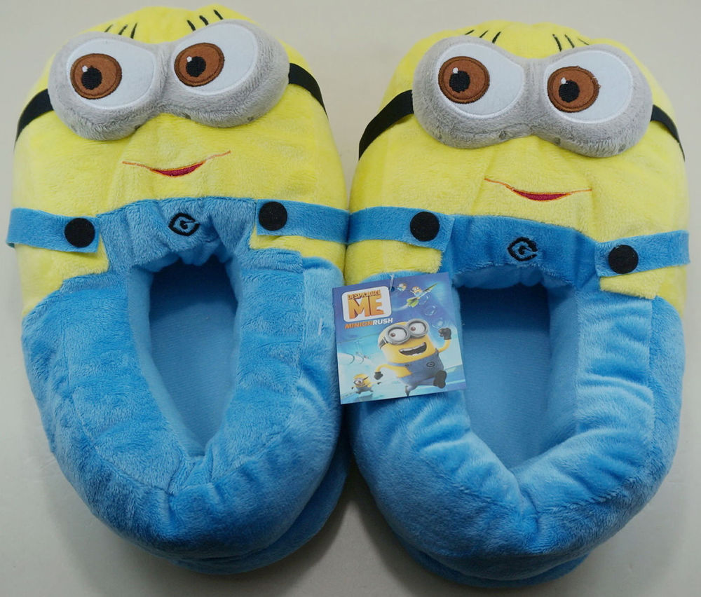Adult Kids Movie Minion Embroidery Eyes One Size Plush Winter Shoes Slippers | eBay