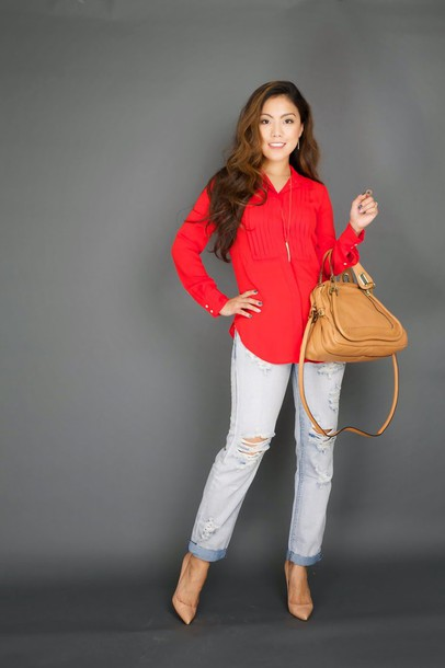 wearing fashion fluently blogger shirt bag ripped jeans red