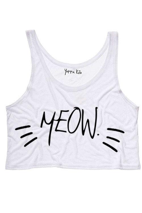 Meow Crop Tank Top on Wanelo