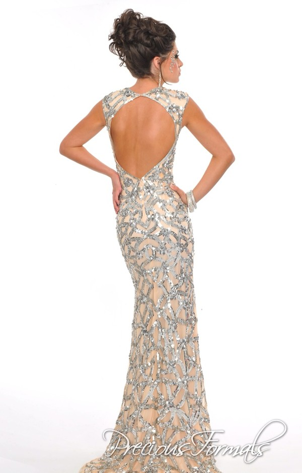 dress blackless nude and silver precious formals