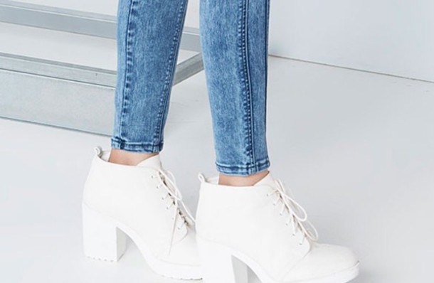 shoes bershka ankleboots white high heels