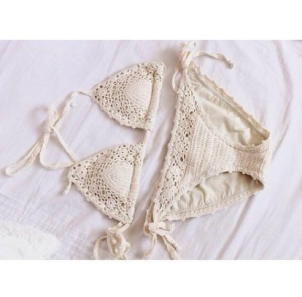 swimwear crochet bikini crochet white