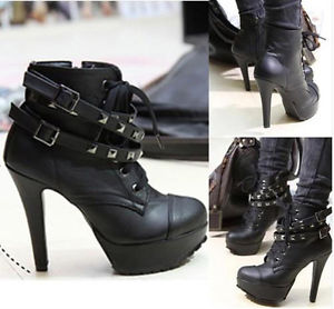 Ladies Faux Leather Lace Up Buckle Platform Studded Shoes High Heel Ankle Boots | eBay