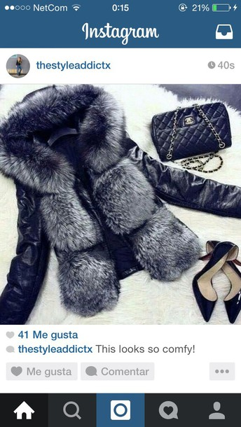 jacket black #jacket #fluffy black & gray