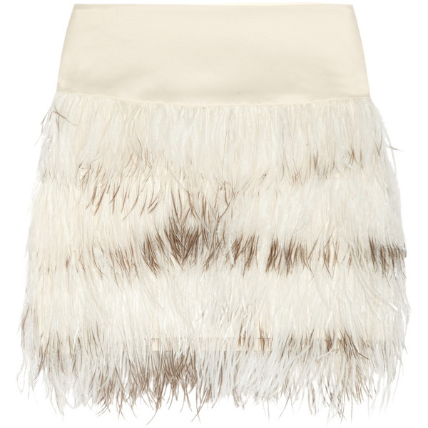 By Malene Birger Alexandrie ostrich feather-trimmed mini skirt - Polyvore