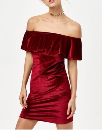 dress girly burgundy burgundy dress off the shoulder bodycon dress bodycon velvet
