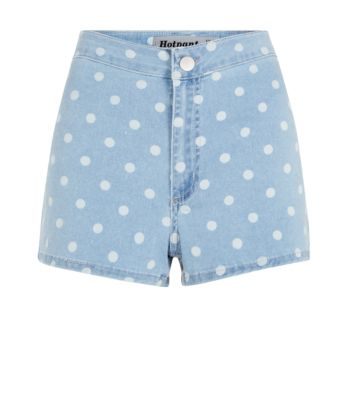 Light Blue Polka Dot Disco Shorts