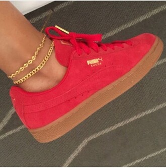 shoes puma puma suede puma sneakers puma x rihanna pumas red red shoes sneakers red sneakers anklet ankle bracelet gold jewelry bralette gold bracelet