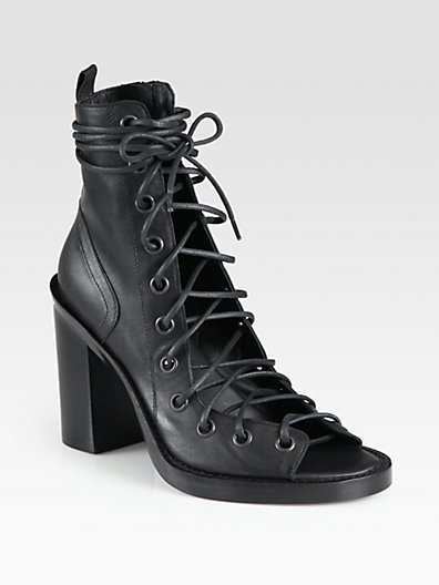Ann Demeulemeester - Leather Open-Front Ankle Boots - Saks.com