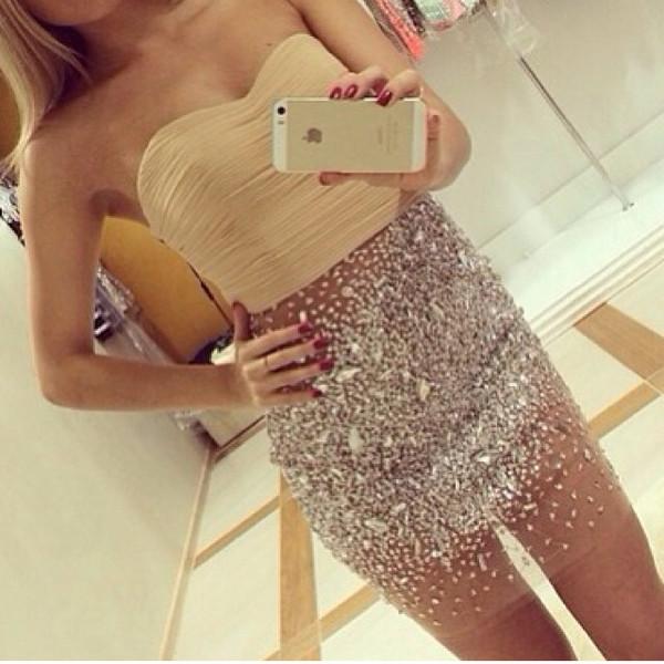 dress glitter bottom model clothes glitter dress beige dress see through gorgeous gorgeous dress girly