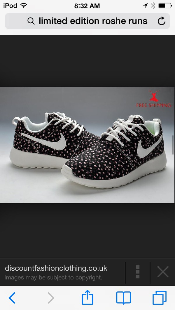shoes nike nike roshe run roshe runs roshes black floral