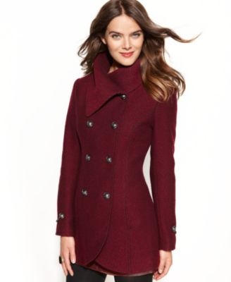 Jessica Simpson Asymmetrical Boucle Plaid Coat - Coats - Women - Macy's