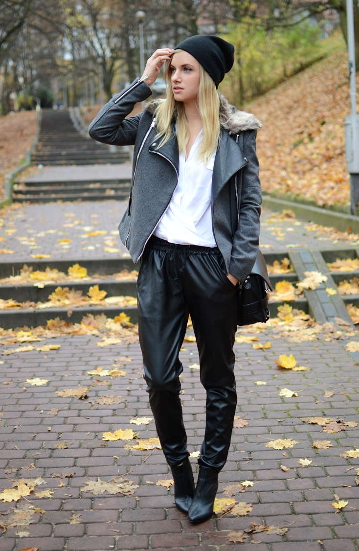 Kirin Leather Pants With Draw Cord   Choies