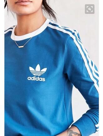 shirt blue adidas long sleeves