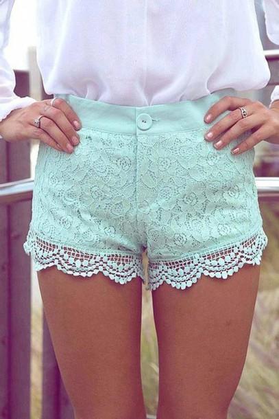 shorts white lace shirt aqua shorts lace mint lace shorts pretty blue shorts mint lace shorts
