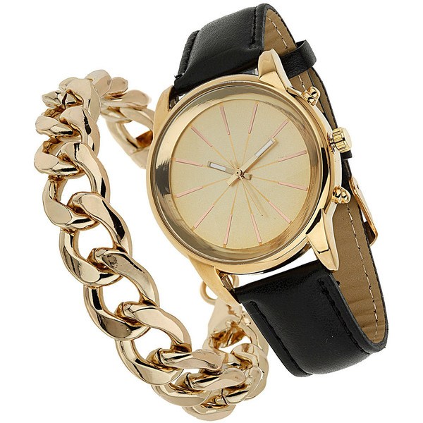 Miss Selfridge Watch and Curb Chain Bracelet - Polyvore