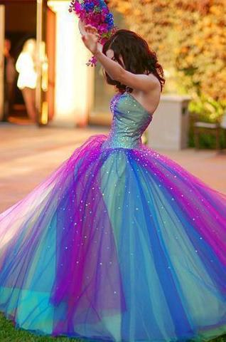 Custom Made Charming Princess Gradient Floor Length Quinceanera Dresses, Ball Gown Prom Gown, Organz on Luulla
