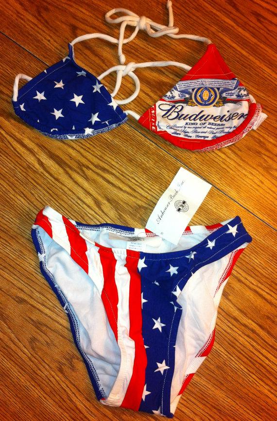 Budweiser Beer Vintage Beach Bikini Swimsuit Size 7 by BmoreUnique