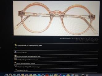 sunglasses pale nude white pink round glasses eyeglasses alternative minimalist optic