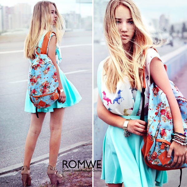 ROMWE | Pumpum Lower Light Blue Skirt, The Latest Street Fashion