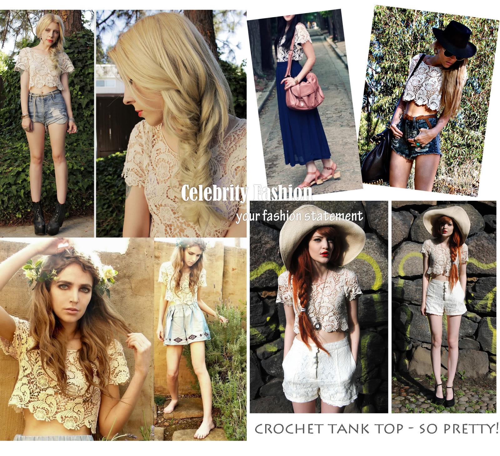 tp50 Celebrity Style Bohemian Vintage Crochet Lace Paisley Floral Crop Tank Top | eBay