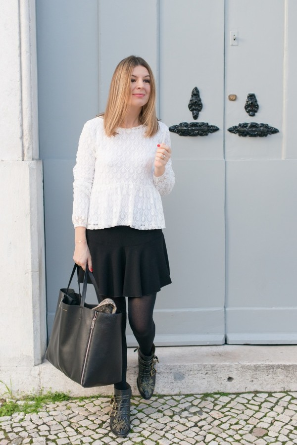 the working girl t-shirt shoes jacket jewels skirt