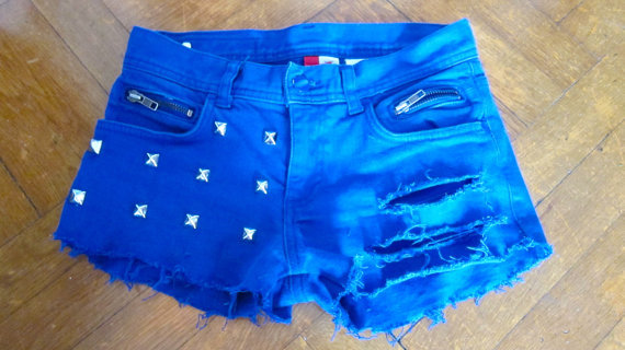 blue silver studded ripped shorts with zippers and quilted pocket size 0/2/4 --custom orders available-- on Wanelo