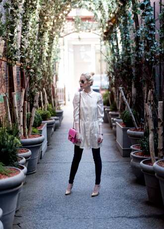 yael steren blogger dress jeans shoes bag sunglasses jewels make-up nail polish high heel pumps nude heels pink bag shoulder bag