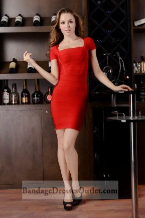 Sale Red Square Neck Bandage Dress With Cap Sleeves [Red Square Neck Bandage] - $159.00 : Cheap Bandage Dresses Online, Wholesale Price Bandage Dresses Outlet