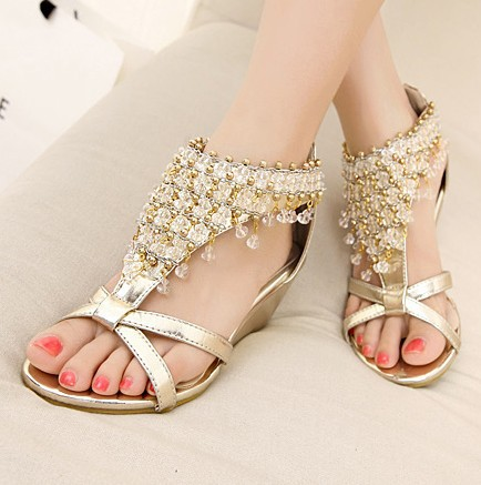 2014 Summer New Fashion Women Sandals Wedge Sandals Rhinestone Beaded Shoes Korean Version Gold/Silver-in Sandals from Shoes on Aliexpress.com