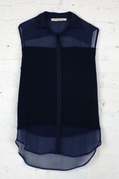sleeveless sheer shirt sheer collar black shirt