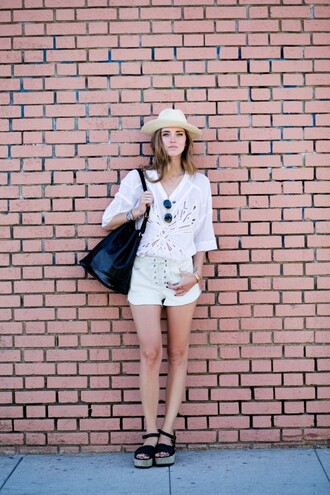 the blonde salad shoes bag sunglasses blogger isabel marant leather shorts shorts hat mirrored sunglasses rayban lace summer outfits leather bag louis vuitton