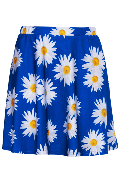 ROMWE | Daisy Print Blue Skirt, The Latest Street Fashion