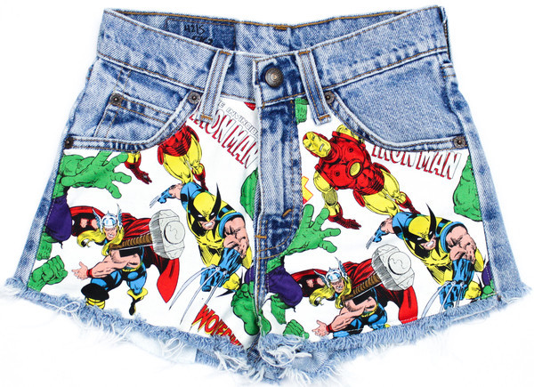 shorts iron man hulk thor wolverine spikes & seams acid wash sway red white
