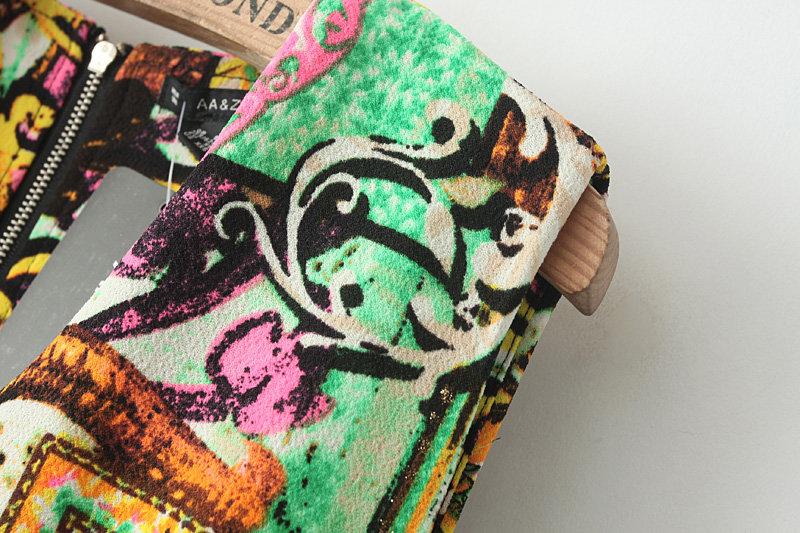 Retro Print V-neck Sleeveless Dress [DLN0121] - PersunMall.com