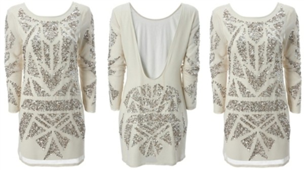 dress mollie dress gina tricot exclusive kollection 2011 white sequin dress white dress cream sequins low back dress backless