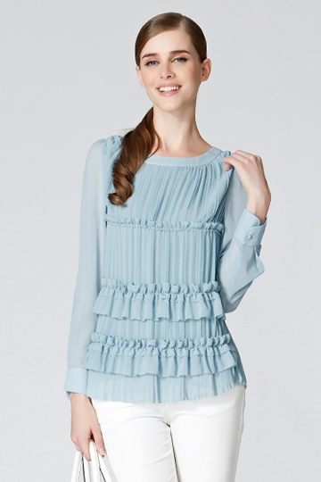 Round Neck Pleated Shirt With Flouncing [FDBI00440]- US$ 73.99 - PersunMall.com