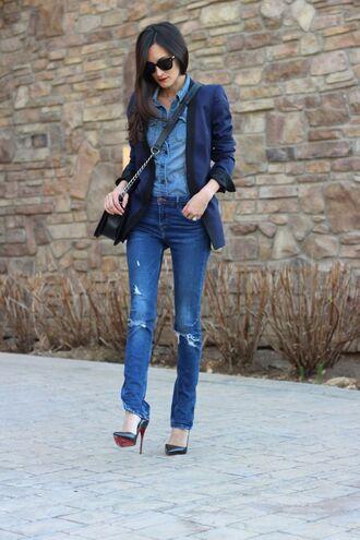 frankie hearts fashion blogger denim shirt blue jacket ripped jeans jacket shirt jeans shoes bag