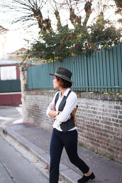 trop rouge blogger pants hat vest white shirt
