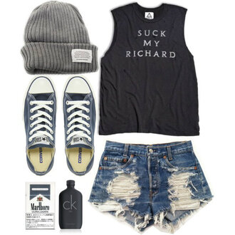 shirt clothes beanie shorts converse singlet shoes hat