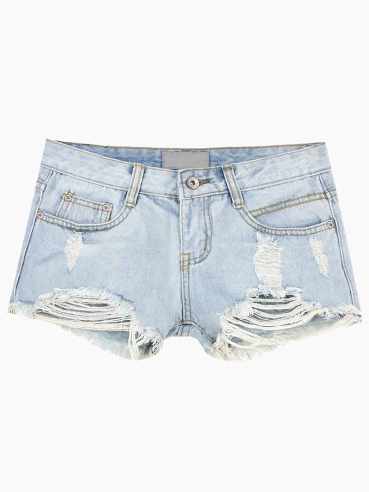 Distressing Denim Short in Wash Out Blue | Choies
