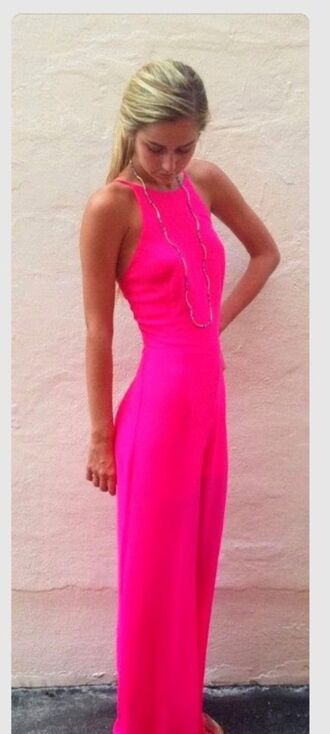 dress bright pink long tight fit slim