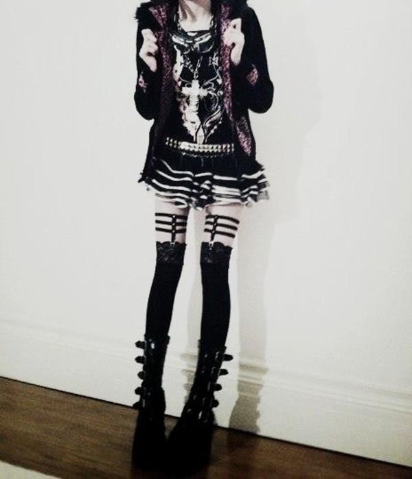 tights stockings goth cute dark gothic lolita gothic grunge underwear shoes shirt skirt