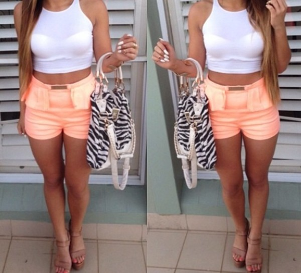bag zebra print handbag pink peplum shorts white crop tops heels tank top shoes shorts coral coral shorts
