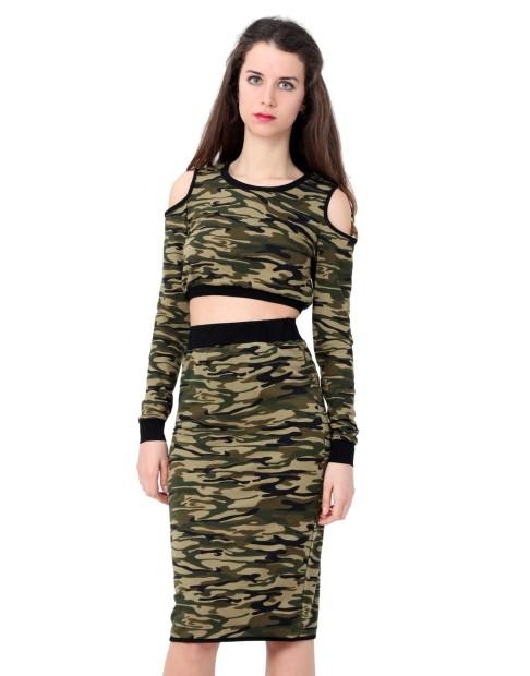 Ensemble top et jupe motif camouflage