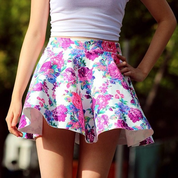 skirt floral skirt skater skirt floral circle skirt pleated skirt