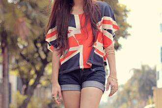 shirt clothes shorts denim shorts british sweater blouse england union jack t-shirt britain flag flag shirt great britain flag english bag graphic tee jewels top earphones blue white red tshirt. ukflag