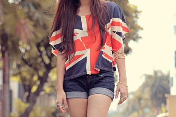 shirt clothes shorts denim shorts british sweater blouse england union jack t-shirt union jack britain flag flag shirt great britain flag english bag graphic tee jewels top earphones blue white red tshirt. ukflag