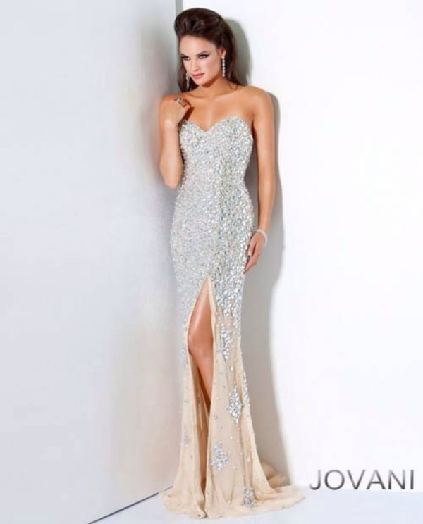 bustier dress silver silver dress rhinestones dress formal event outfit prom dress slit prom dress dress sparkly dress jovani champagne form fitting long strapless dress slit dress sexy dress party dress beaded dress gown