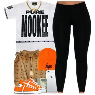shirt black and white tights leggings nookie mookie hype mcm bag mcm orange converse chuck taylor all stars ski hat gold gold chain iphone black white low top sneakers dope urban lovable school outfit money purse jersey hat lazy day yulema